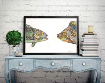fish Watercolor Painting,fish wall art,fish print, fish portrait,fish for Luck - Feng shui painting, Animals lover gift, Ocean Wall Decor