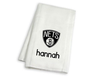 Personalized Brooklyn Nets Baby Burp Cloth