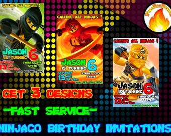 GET 3 DESIGNS-Ninjago Inspired Birthday Invitation- Lego Party- Birthday Invitation