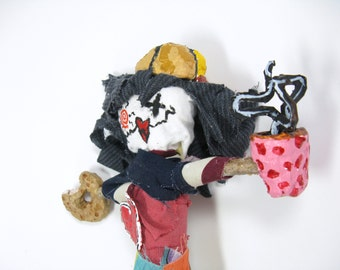 Voodoo Doll with Coffee Mug and Doughnut, Office Party Gag Gift, Mixed Media or Altered Art Poppet or Pin Doll