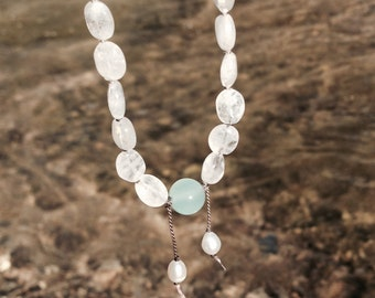 Moonstone & Blue Jade, with Freshwater Pearls, Hand-knotted Silk