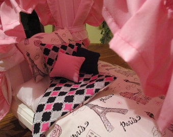 "5 Pc. Handmade Paris Glitter Print Bedding for American Girl or any 18"" Doll"