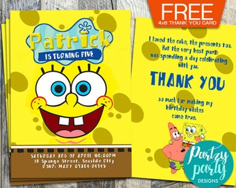 Spongebob Invitation, Spongebob Birthday Invitation, Spongebob Party, Spongebob Birthday, Spongebob