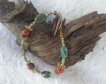 Manied Jaspers with turquoise and agates.( 7.5 in.)