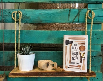 Reclaimed Wooden Shelf with Rope. Hanging / Floating / Simple Rustic Wooden Shelf
