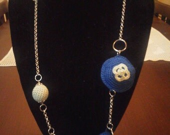 Necklace with inserts made of blue green crochet gift Box free