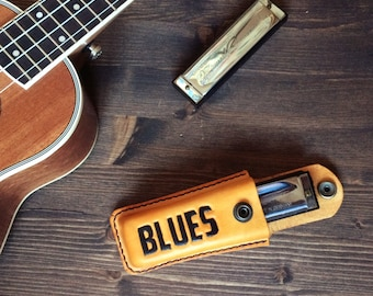 Blues harmonica case. Leather Harmonica Pouch, leather blues harp case, mouth organ sleeve, harmonica gift