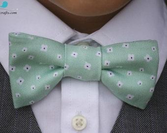 mint floral bowtie, bow tie, bowtie men, boy bowtie, adult bowtie, back to school bowtie, pastel bowtie, floral bowtie, adjustable bowtie,