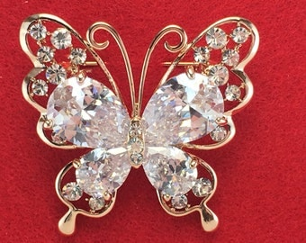 Gold Plated Austrian Crystal Butterfly Brooch Pin for Women
