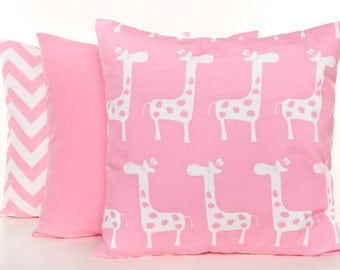 Pink Pillow Covers, Pink Nursery Pillows, Giraffe Pillow, Pink and White Pillowcases, Zig Zag Print Pillow, Solid Pink Pillow, Set of 3