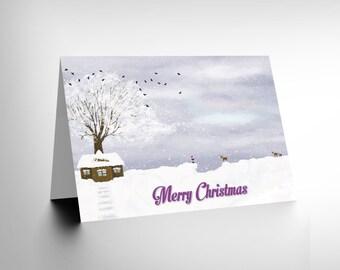 Christmas Card - Snow Scene Xmas Santa House Merry Christmas Blank CL1515