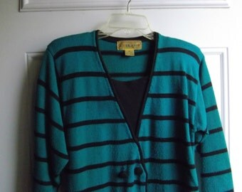 Turquoise & Black Sweater Dress by A'Milano, Size Medium, Vintage 80's