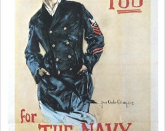 "Vintage ""I Want You For The Navy"" WW2 Recruiting Poster Woman In Pea Coat 24x36"