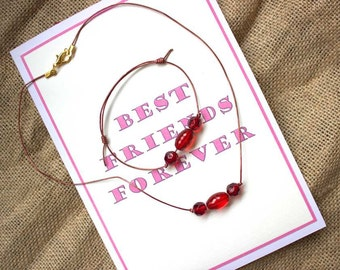 Best Friends Forever greetings card with Bracelet and Necklace