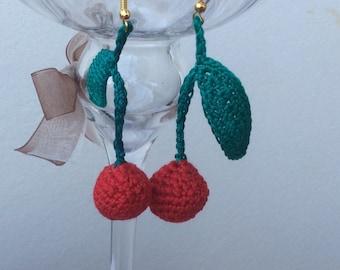 Cherry Cherry Earrings in crochet