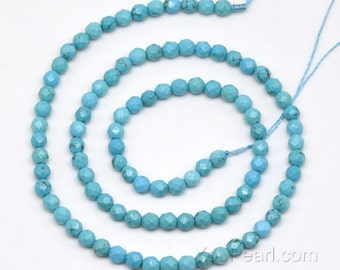 Turquoise beads, 4mm round faceted, gem stone beads, natural turquoise stone, genuine loose beads, full strand, beads jewelry, TQS1010