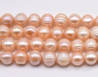 Large 11-12mm potato cultured pearl, pink genuine ringed pearl, freshwater pearl beads, can be drilled to 2.5mm large hole pearls, FQ810-PS