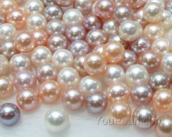 AA+ 8-8.5mm round pearls, freshwater round loose pearls, natural white pink mauve half-drilled hole pearls, top quality pearls, FLR8085-M