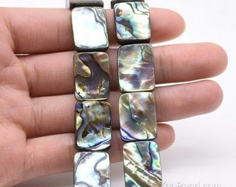 13x18mm rectangle shape abalone paua beads, natural abalone shell, multicolor paua beads strand for jewelry making, ABA1015