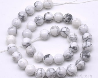 Howlite beads, 10mm round,gem stone full strand, white smooth howlite bead, A grade loose howlite stone jewelry beads, HWL2060