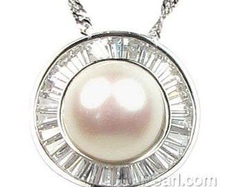 White pearl pendant, round pearl pendant, 925 sterling silver crystal pendant, freshwater pearl pendant necklace, 11-12mm, F2495-WP