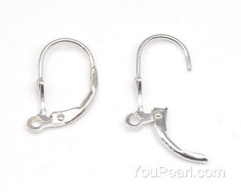 925 sterling silver ear hook with loop, lever back earrings hooks, Euro earwires, hooks findings , DIY earrings jewelry, 2 pairs, EF1095