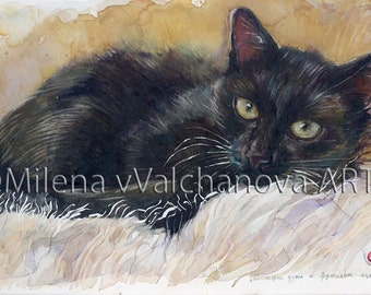 """Black Cat, Original Watercolor by Milena Valchanova-One of a Kind-Wall décor-Gift for women-9"""" x15""""(23/39sm)-Original Watercolor Painting"""