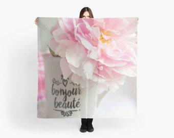 Pale Pink Peony Scarf ~   Dreamy Shabby Chic Scarf  ~ Paris Theme French Gift for Her ~ Feminine Scarf, Floral Accessory Shabby Chic Fashion