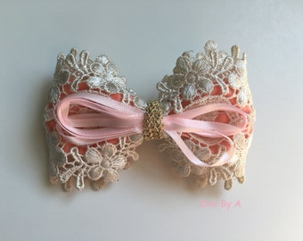 High Quality Lace Flower Bow Alligator Hair Clip