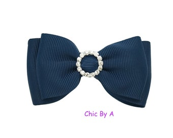 "Boutique Hair Bow,Navy Hair Bow,Pink,3"" Mini Hair Bow,Hair Bow With Rhinestone,Girls hair bows,Toddler,baby hair bows"