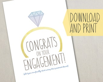 Funny Engagement Card, Use that Pinterest Board, Instant Digital Download, DIY Print and Fold at Home