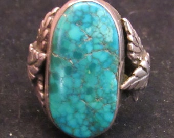 Spiderweb Sterling SIlver Turquoise SIze 10 Southwest Style Mens Ring (E0070)
