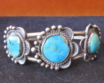 Sterling Silver Native Style Old Pawn Cuff Turquoise Southwest Bracelet 3 Stone
