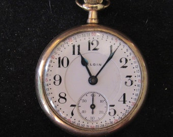 Vintage 21 Jewel Double Roller Gold FIlled Elgin Father Time Pocket Watch