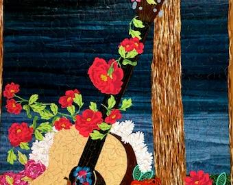 Guitar quilt - guitar art quilt