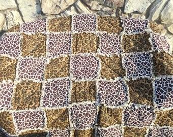 Leopard & Giraffe Throw Animal Throw  blankets/ Leopard print blankets/ Giraffe Print blankets/Gifts leopard Print/ Safari blankets/Quilts
