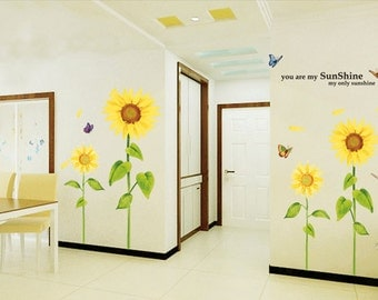 Floral Wall Decal Sunflower Wall Decal Wall Art Wall Decor