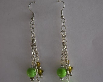 Silver tone chains and green beads earring