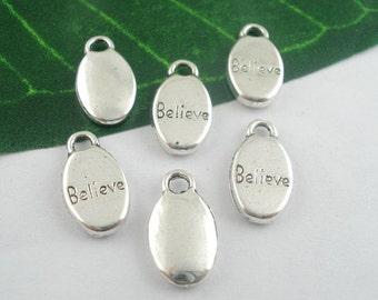 """10PCs Silver Tone """"Believe""""  Bracelet Necklace Charms Pendants 15x9mm  ref : 00035"""