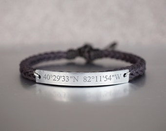 Custom Coordinate Bracelet, Location Engraved Bracelet, Latitude Longitude, Skinny Bar, Dark Brown Cord Braided Bracelet, Adjustable Cuff