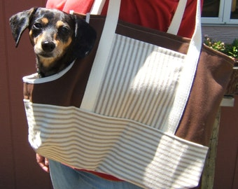 Small Dog Carrier Tote, Brown Pet Carrier