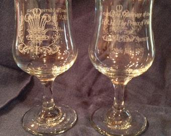 Charles and Diana Royal Wedding Wine Glasses