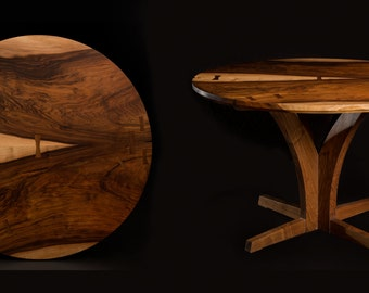 English Walnut Round Table Slab Dining Table