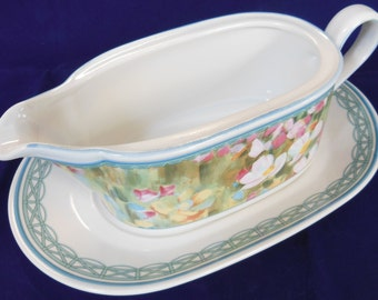 Mikasa (Heritage) Floral Meadow Gravy Boat & Underplate, Pattern# CAB 01, Made In Japan, In Excellent Condition