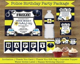 Police Party Printables; Police Birthday Party Package; Police Officer Party; Police Birthday Invitations; Policeman Party; Cops and Robbers