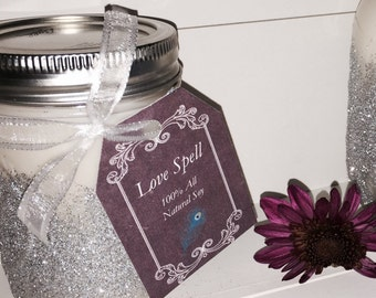 8 oz Handmade All Natural Soy Candle- Love Spell