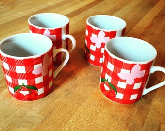 Afibel cherry gingham espresso cups