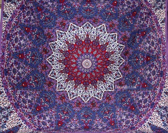 Star Mandala with Elephants fabric - Colors include Purple, Red and more - Tapestry Bohemian Boho