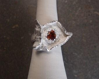 Silver ring & zirconia orange - Zilveren ring met zirkoon