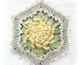 Potholder, Chrysanthemum Cottage Potholder, Crocheted Floral Potholder, Shabby Chic Decor Potholder